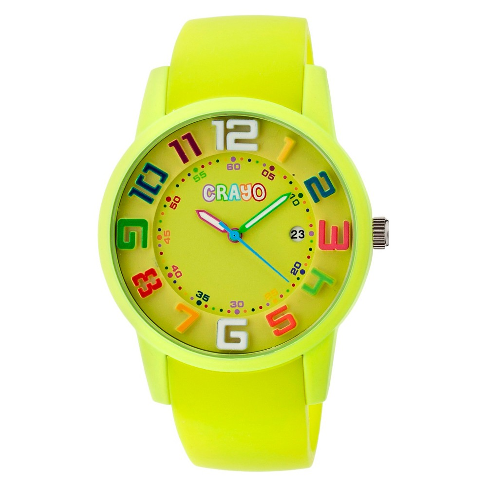 Image of Women's Crayo Festival Watch with 3D Raised Numbers and Date Display-Lime, Size: Small, Yellow