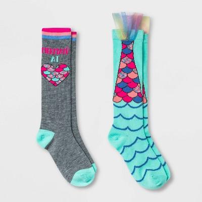 Girls' 2pk Mermaid Knee High Socks - Cat & Jack™ Mint