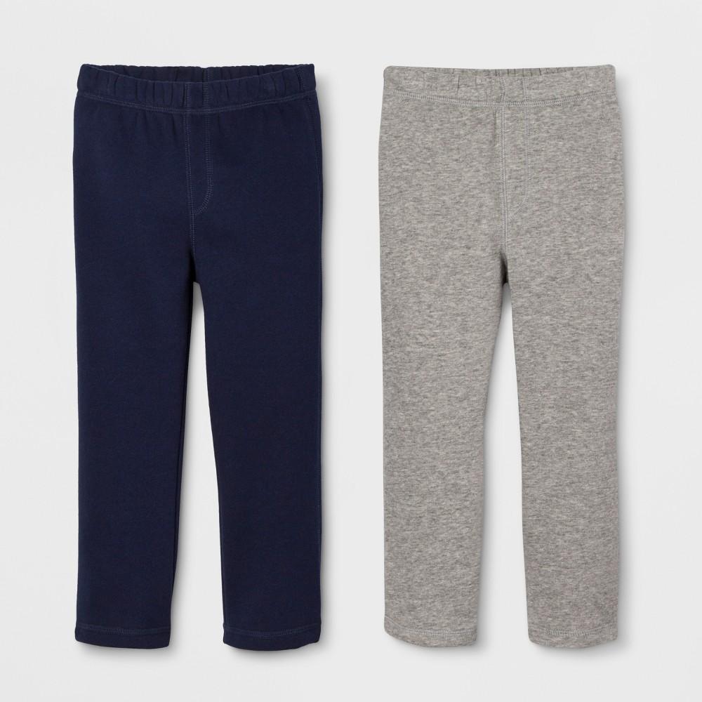 Image of Toddler Boys' Fleece Straight Fit 2pk Sweatpants - Cat & Jack Gray/Navy 12M, Boy's