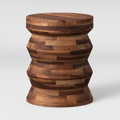 Zigzag Drum Accent Table Brown - Threshold™