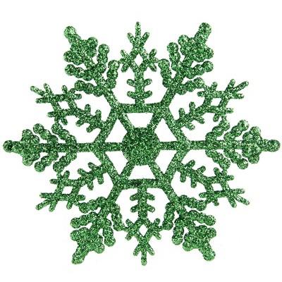 Northlight Club Pack Of 24 Xmas Green Glitter Snowflake Christmas Ornaments 4 Target