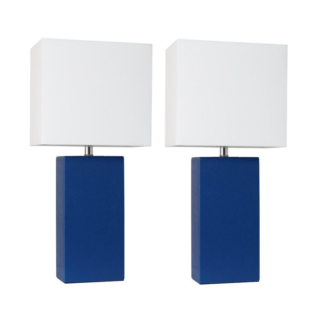 Image of 2pk Modern Leather Table Lamp Blue - Elegant Designs