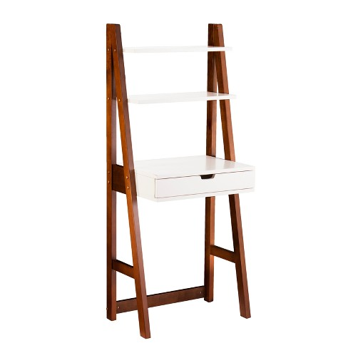 Berg Leaning Desk Bookcase White With Oak Brown Aiden Lane
