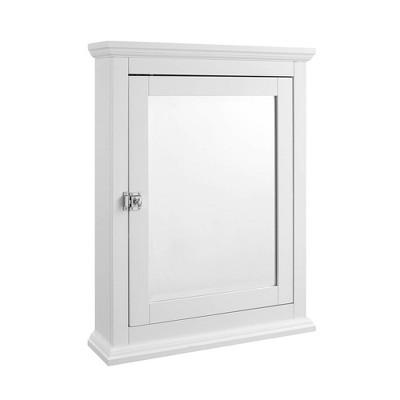Wooden Medicine Cabinet with Mirrored Door Storage White - Benzara