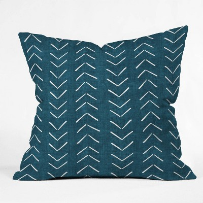 """16""""x16"""" Becky Bailey Mud Cloth Big Arrows Square Throw Pillow Teal - Deny Designs"""
