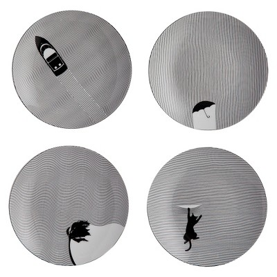 Appetizer Plate Porcelain 6  Fine Lines 4-pack - Cheeky®