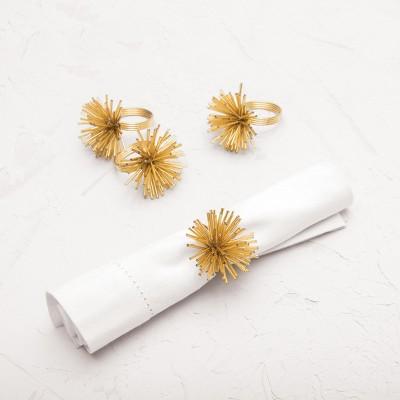 carol & frank Spike Golden Napkin Ring Set of 4