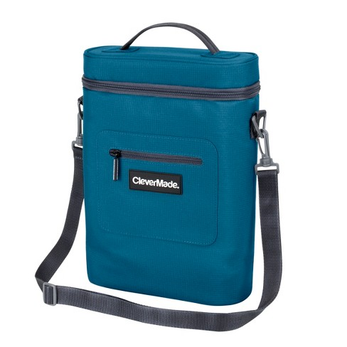 CleverMade Wine Cooler with Insulated Cold Pack, Wine Opener and Shoulder Strap - Blue/Charcoal - image 1 of 9