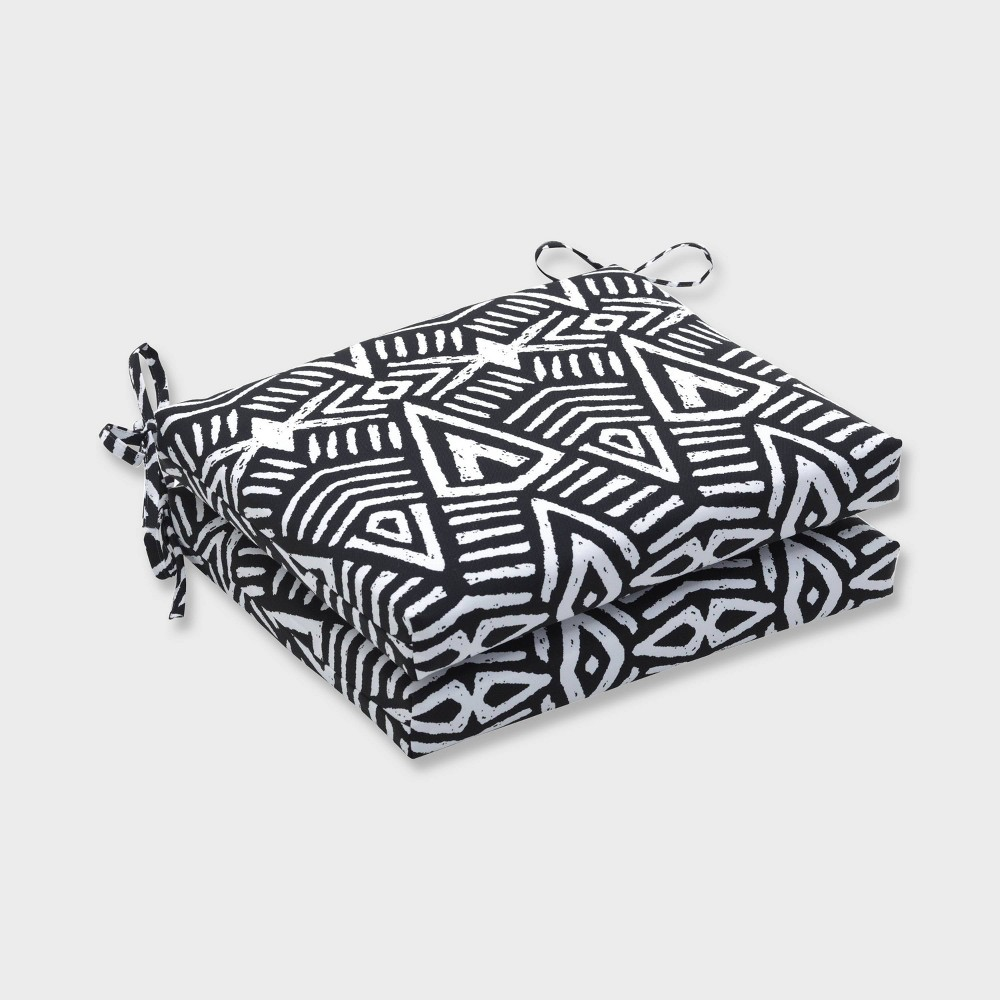 2pk Tribal Dimensions Squared Corners Outdoor Seat Cushions Black - Pillow Perfect