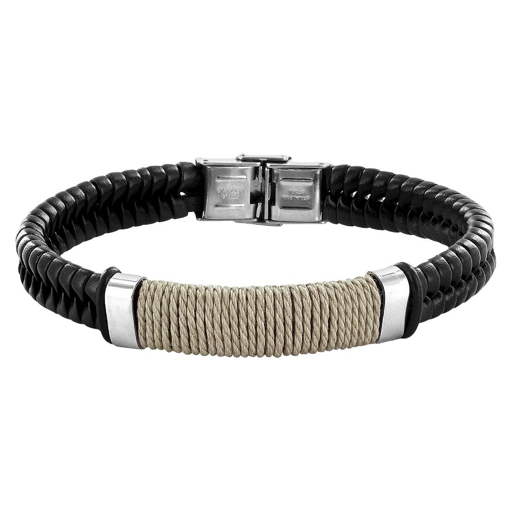 Men's Crucible Stainless Steel and Leather Bracelet with Wrapped Twine Center - Black