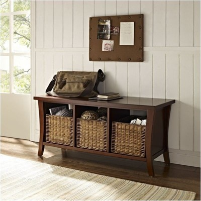 Wood Entryway Storage Bench in Mahagony Brown-Bowery Hill