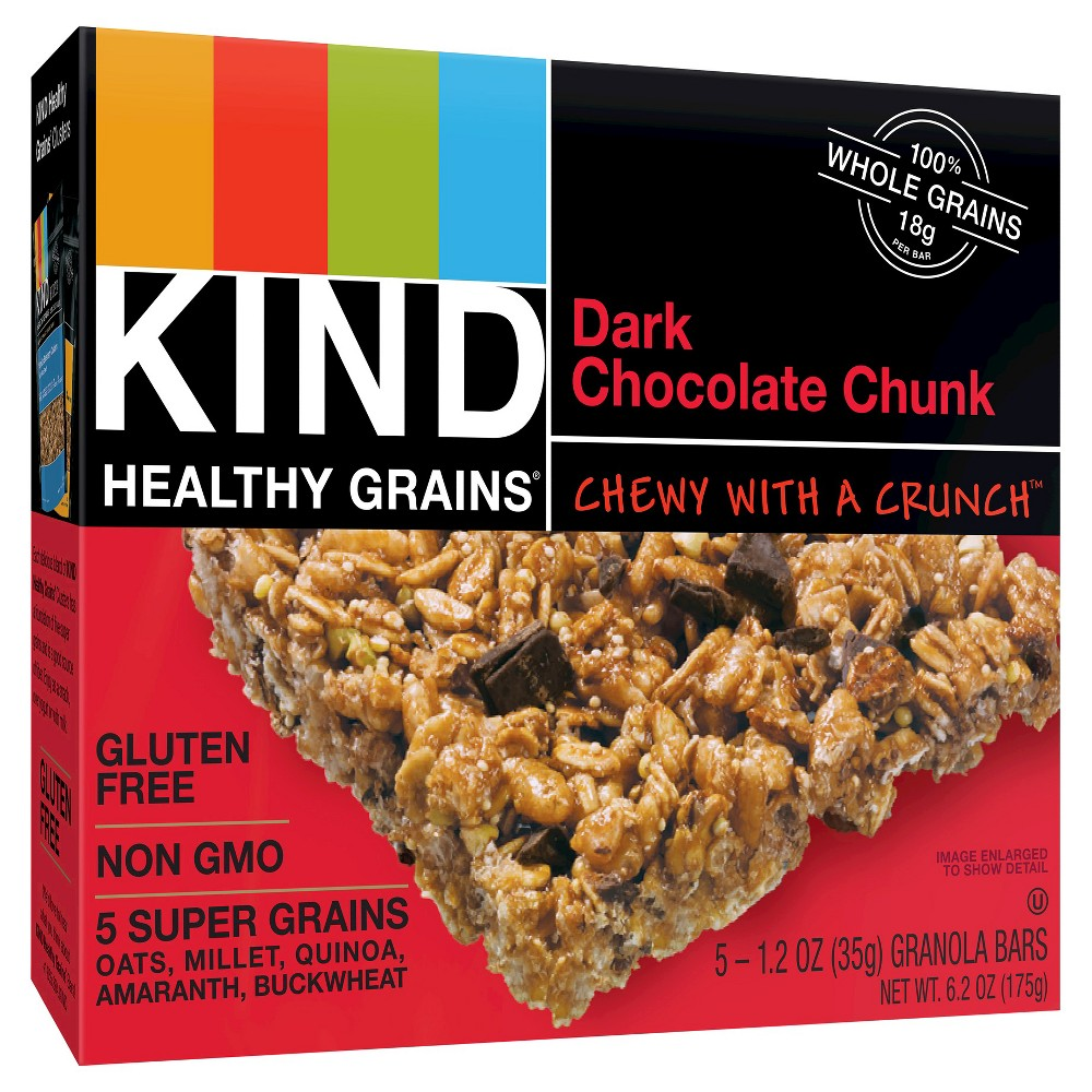 Kind Healthy Grains Dark Chocolate Chunk, Gluten Free Granola Bars - 5ct