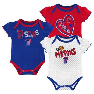 NBA Detroit Pistons Girls' Draft Pick Body Suit Set 3pk