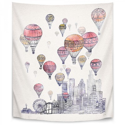Americanflat Voyages Over Santa Monica by David Fleck Wall Tapestry
