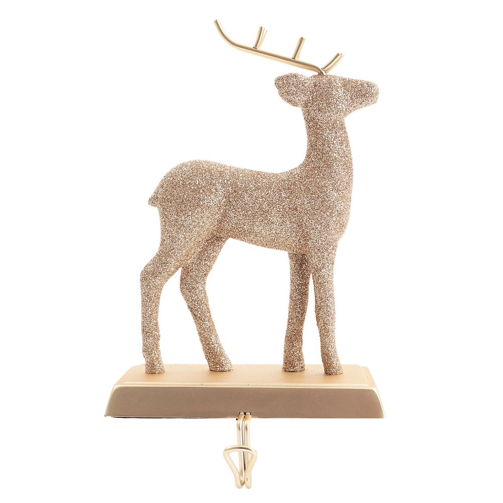 Metal Deer Christmas Stocking Holder Champagne Glitter - Wondershop, Light Gold