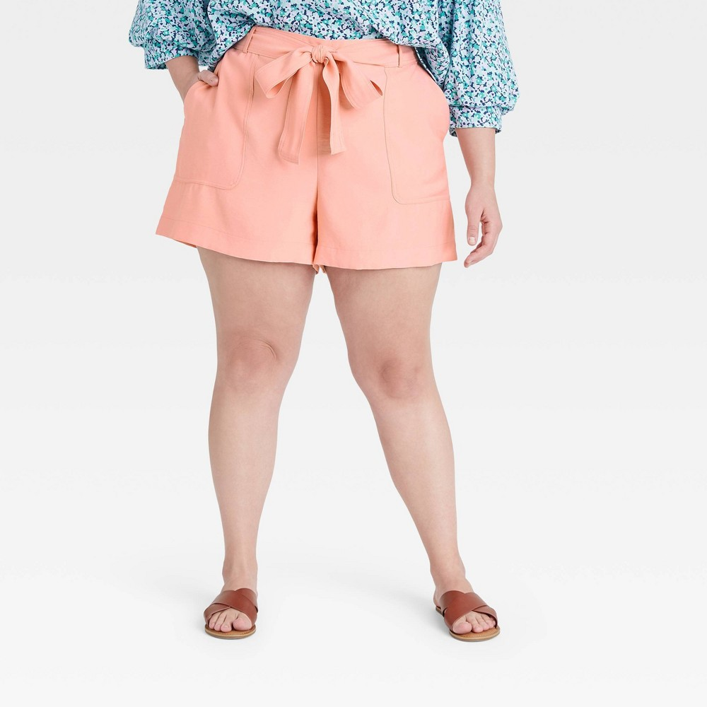 Women 39 S Plus Size High Rise Tie Waist Shorts A New Day 8482 Coral 1x