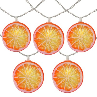 Northlight 10ct Battery Operated Orange Slice Summer LED String Lights Warm White - 4.5' Clear Wire