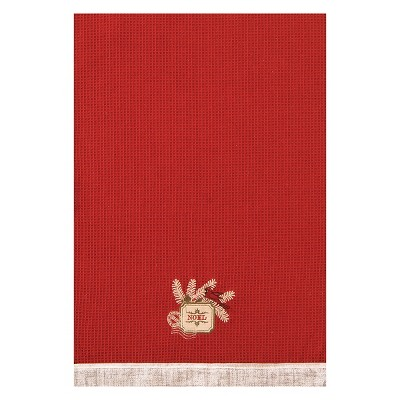 C&F Home Vintage Greetings Red Waffle Weave Embroidered Cotton Kitchen Towel