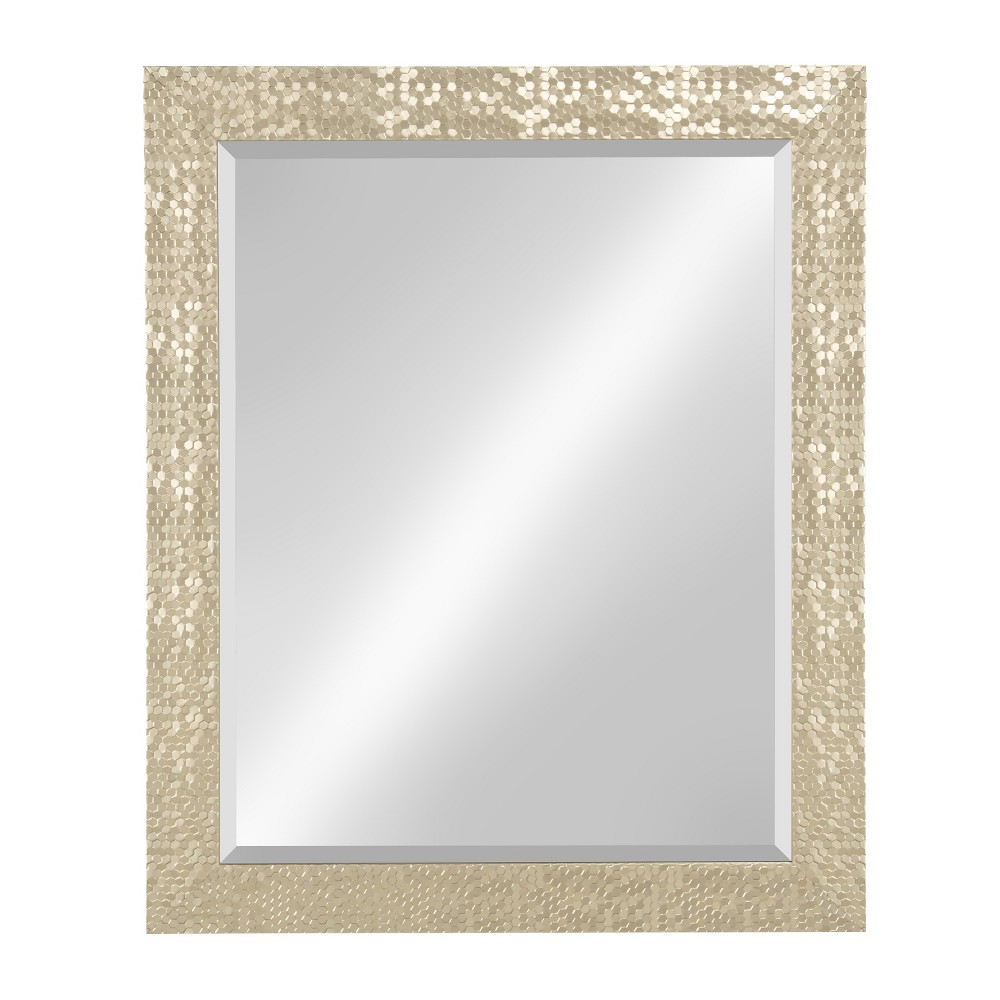 "Image of ""Kate & Laurel 27""""x33"""" Coolidge Framed Beveled Wall Vanity Mirror Light Gold"""