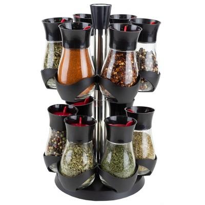 Home Basics Contemporary Gourmet Revolving 12-Jar Two Tier Spice Rack, Black