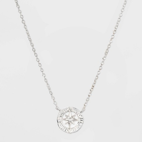 Sterling Silver Compass Necklace - Silver - image 1 of 2