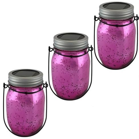 3ct Solar LED String Lights Glass Jar Lantern - Pink - Sunnydaze Decor - image 1 of 4