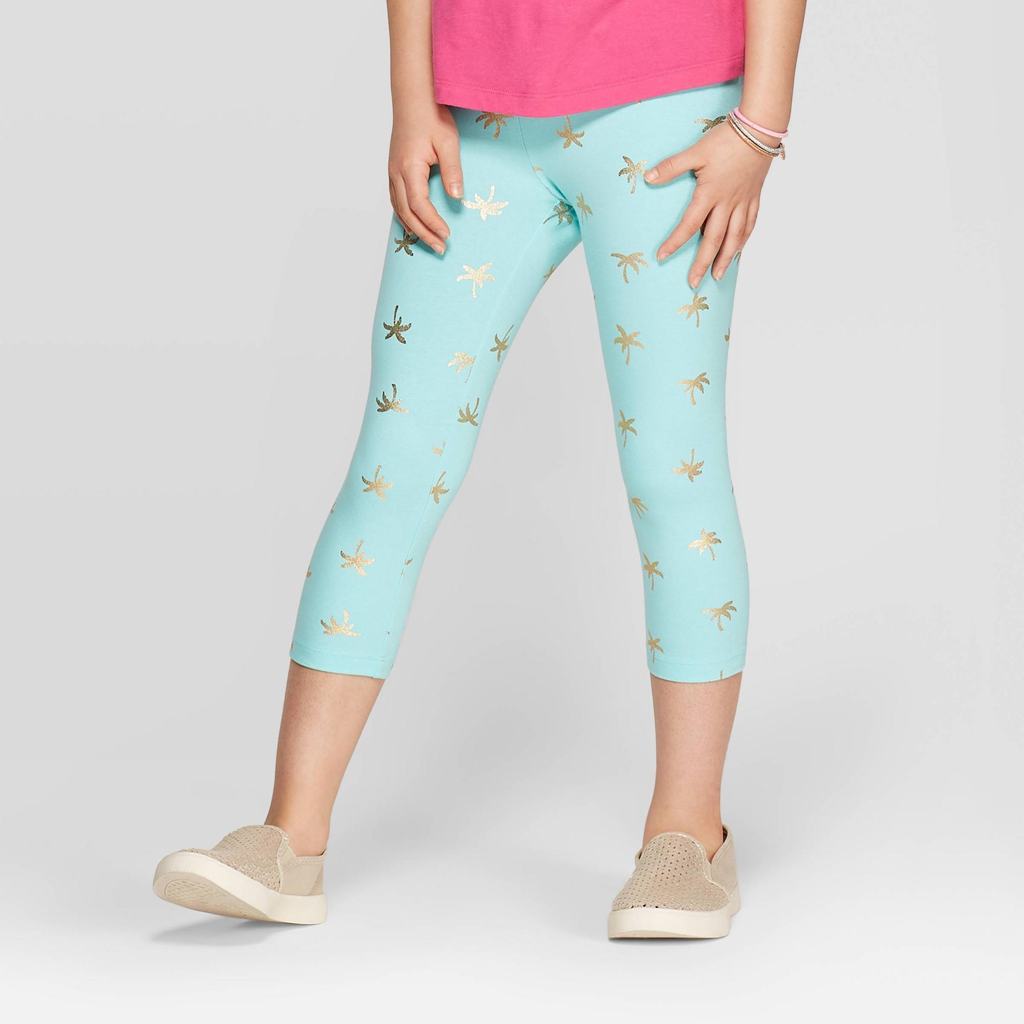 Girls' Foil Palm Tree Capri Leggings - Cat & Jack Aqua S, Blue