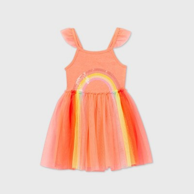 Toddler Girls' Tank Top 'Sequin' Rainbow Tulle Dress - Cat & Jack™ Coral 12M