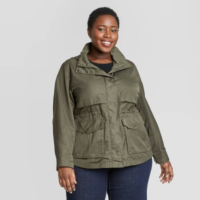 Women's Plus Size Long Sleeve Rain Jacket - Ava & Viv™