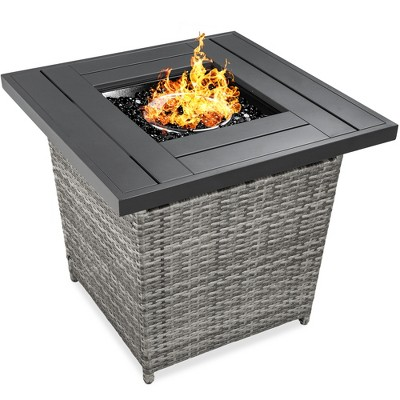 Best Choice Products 28in Propane Gas Fire Pit Table 50,000 BTU Outdoor Wicker w/ Glass Beads, Tank Holder