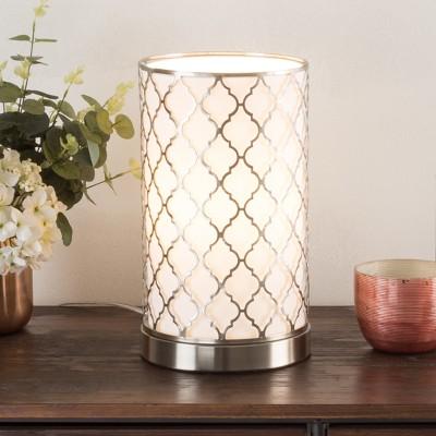 Tree Bark Pattern LED Uplight Table lamp Medium Silver (Includes Energy Efficient Light Bulb)- Lavish Home