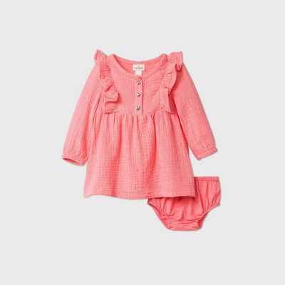 Baby Girls' Sparkle Gauze Shine Mid Tier Dress - Cat & Jack™ Pink 0-3M