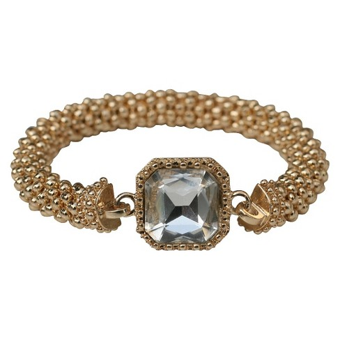 Satin Textured Rondelles with Square Crystal Stretch Bracelet - Gold - image 1 of 1