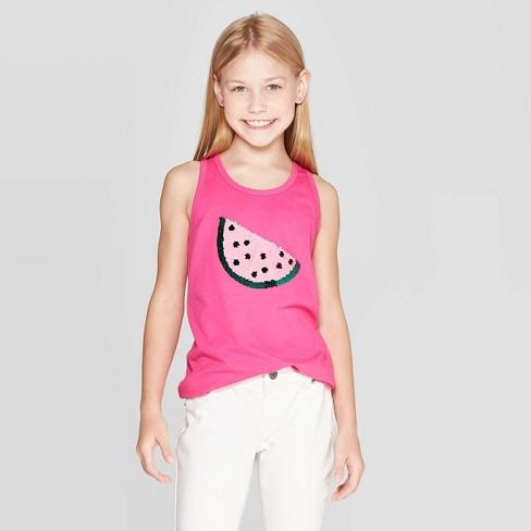 Girls' Watermelon Flip Sequin Tank - Cat & Jack™ Pink L - image 1 of 4