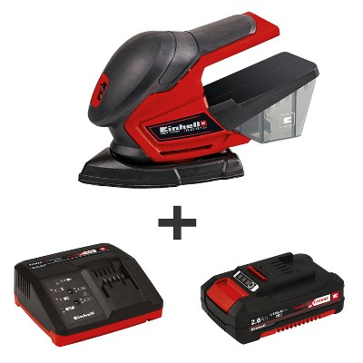 Einhell TE-OS Power X-Change 18-Volt Cordless 24,000-OPM Compact Detail Palm Sheet Sander,  Dust Collection Box, Kit (2.0-Ah Battery + Fast Charger)