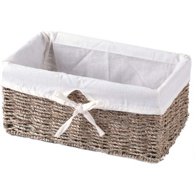 Vintiquewise Seagrass Shelf Basket Lined with White Lining