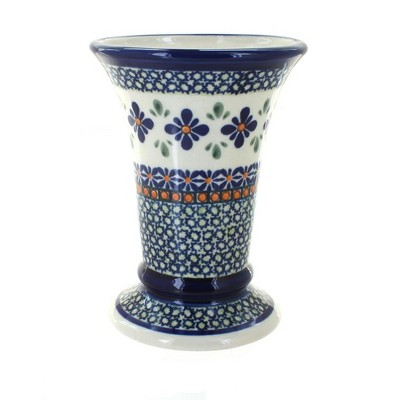 Blue Rose Polish Pottery Mosaic Flower Small Vase