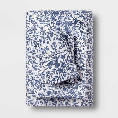 King 400 Thread Count Floral Cotton Performance Sheet Set Blue Floral - Threshold™
