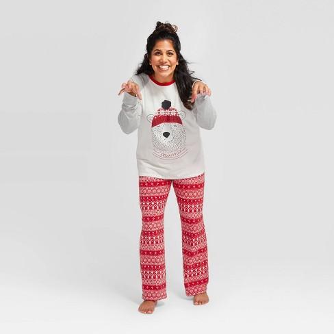 "Women's Holiday ""Mama"" Bear Pajama Set - Wondershop™ Gray - image 1 of 3"