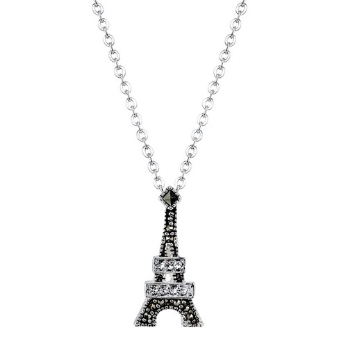 """Silver Plated Marcasite and Crystal Eiffel Pendant - 18.8"""" - image 1 of 1"""