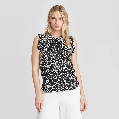 Women's Leopard Print Ruffle Tank Top - Who What Wear™ - image 1 of 3