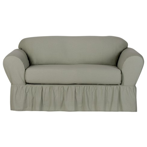 green cotton duck loveseat slipcover 2 piece simply shabby chic target. Black Bedroom Furniture Sets. Home Design Ideas