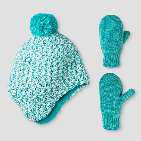 Toddler Girls' Chunky Knit Peruvian Hat and Mitten Set - Cat & Jack™ Turquoise - image 1 of 1