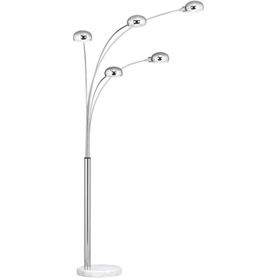 Possini Euro Design Mid Century Modern Arc Floor Lamp 5-Light Chrome Marble Base Swivel Dome Shades for Living Room Reading