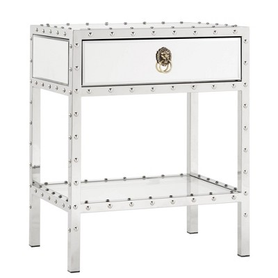 Ansley Mirrored Nailhead Stainless Steel End Table Chrome - Inspire Q