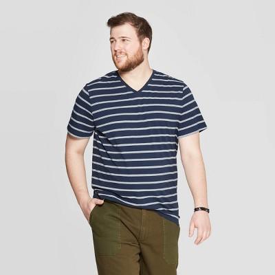 19f0d49cfaab Men's Big & Tall Striped Novelty V-Neck T-Shirt - Goodfellow & Co™ Blue Beam  5XBT : Target
