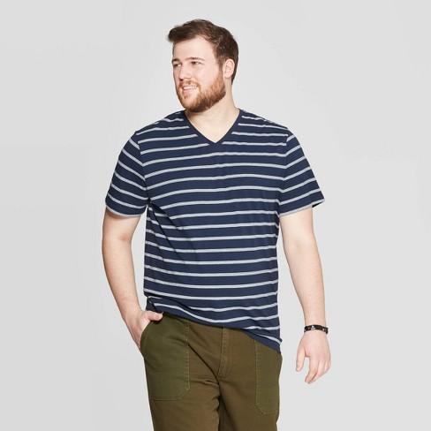 304e45317ff8 Men's Big & Tall Striped Novelty V-Neck T-Shirt - Goodfellow & Co™ Blue Beam  3XB : Target
