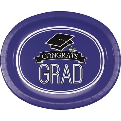 "Graduation School Spirit Purple 10"" x 12"" Oval Platters - 8ct"