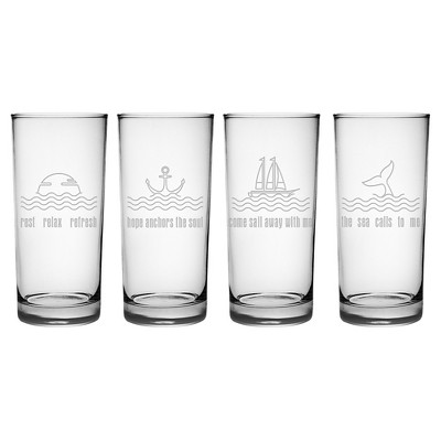 Susquehanna Glass Sea Décor 15oz Highball Glasses - Set of 4