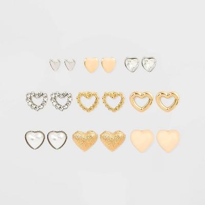 Heart Multi Earring Set 9pc - Wild Fable™